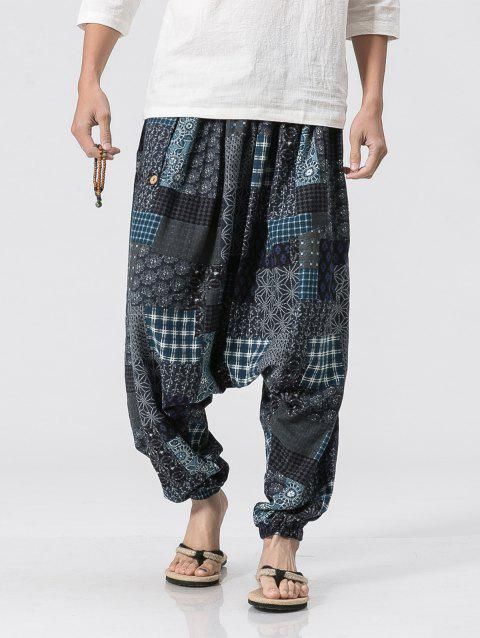 Plaid Panel Floral Print Jogger Pants - BLUE GRAY M