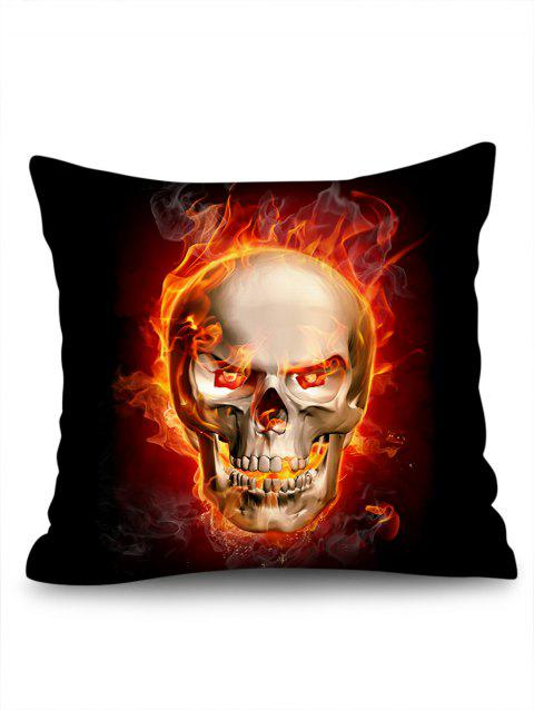 Flame Skull Printed Square Pillow Cover - BLACK W18 INCH * L18 INCH