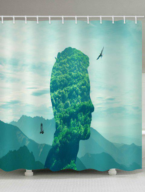 Face In Mountains Print Waterproof Shower Curtain - CLOVER GREEN W71 INCH * L71 INCH