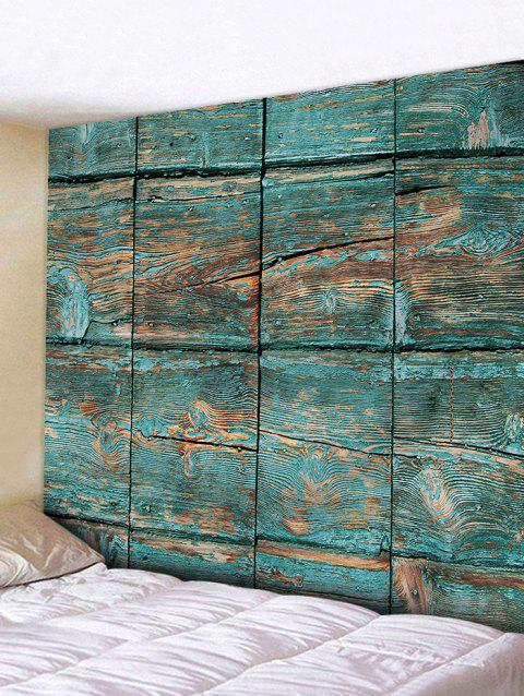 Paint Stripping Wood Planks Print Wall Tapestry - GREEN W91 INCH * L71 INCH