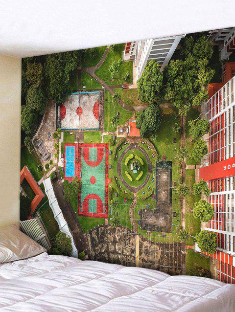 Playground Park Print Wall Hanging Tapestry - GREEN W59 INCH * L51 INCH