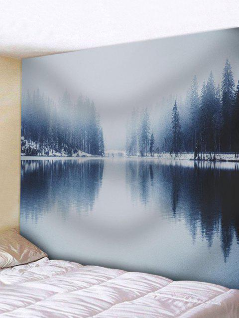 Winter Lake Landscape Pattern Wall Hanging Tapestry - GRAY GOOSE W71 INCH * L71 INCH