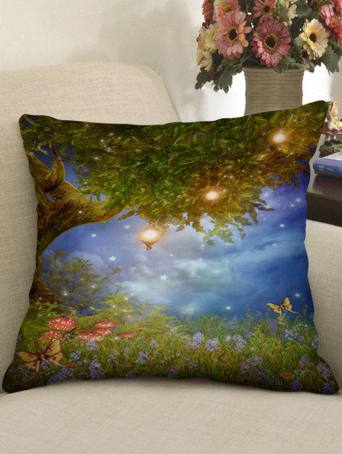Tree and Flowers Print Sofa Pillowcase - multicolor W18 INCH * L18 INCH