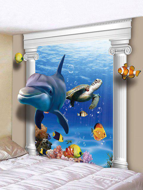 3D Ocean Dolphin Turtle Print Wall Tapestry - BLUE W59 INCH * L51 INCH