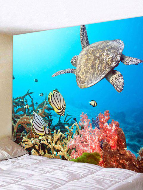 Sea Animal Turtle Print Wall Hanging Tapestry - BLUE W71 INCH * L71 INCH