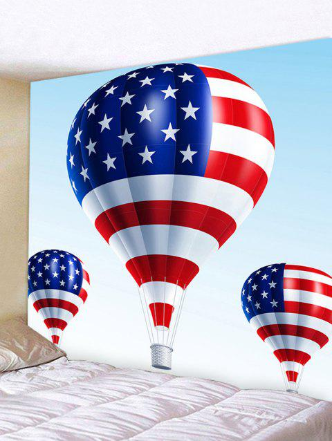 American Flag Fire Balloon Pattern Wall Art Tapestry - multicolor W91 INCH * L71 INCH