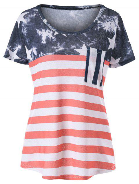 American Flag Graphic Pocket T-shirt - RED M