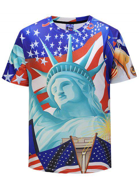 3D Statue of Liberty and Flag Print T-shirt - multicolor L