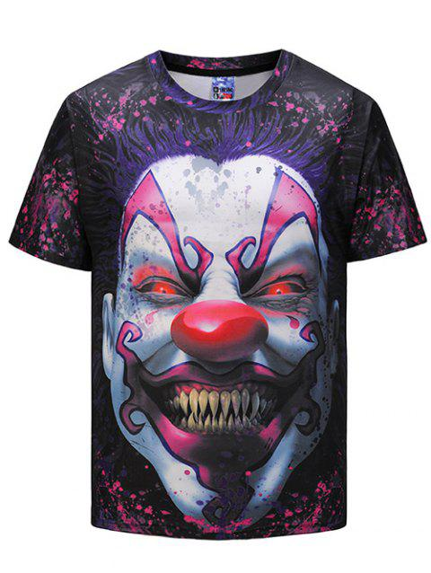 Crew Neck 3D Scary Clown Print T-shirt - multicolor M