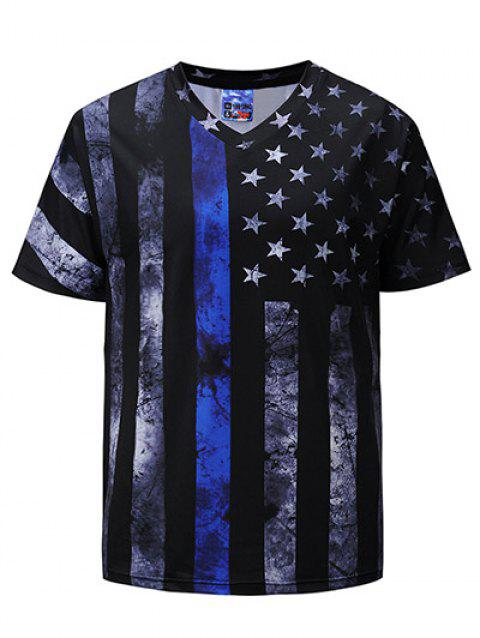 Stars and Stripes Print Short Sleeve T-shirt - multicolor L