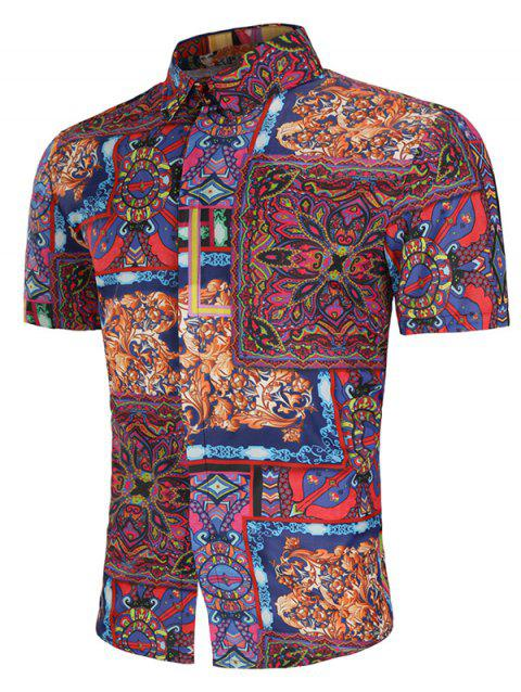 Allover Tribal Flower Print Turn Down Collar Shirt - multicolor 3XL