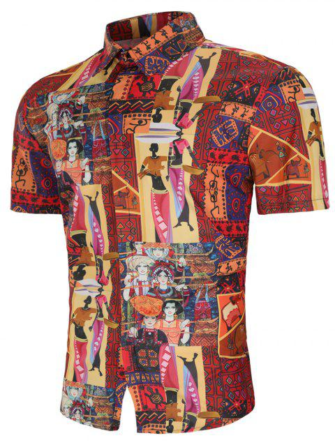 Turn Down Collar Tribal African Women Print Shirt - multicolor M