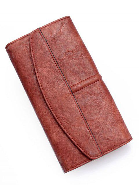 Flapped Stitches Tri Fold Wallet - SEPIA