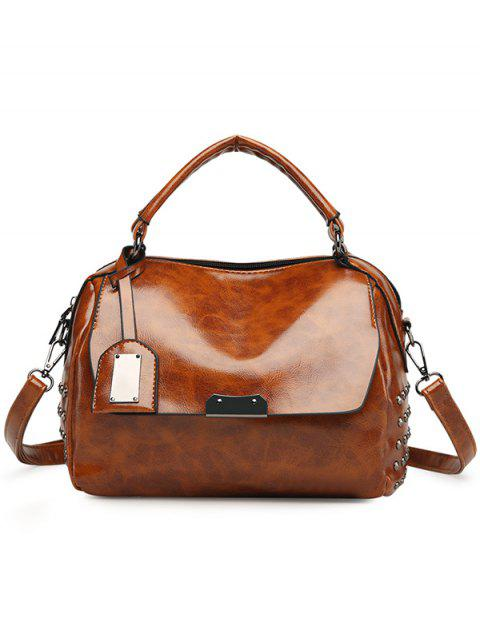 Top Handle Rivets PU Leather Handbag - BROWN