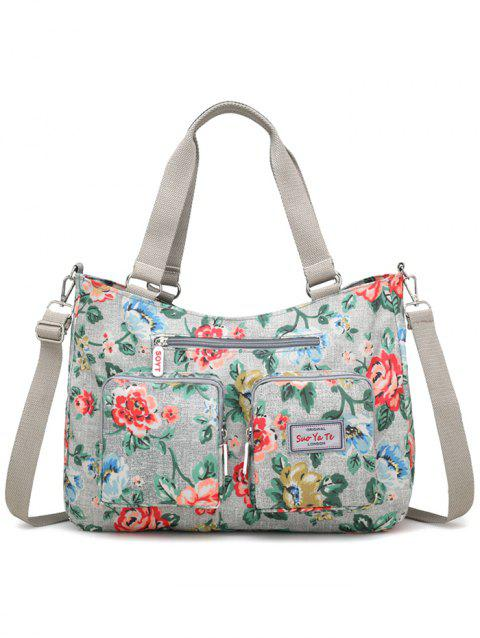 Floral Decorated Large Capacity Travel Tote Bag - DARK FOREST GREEN