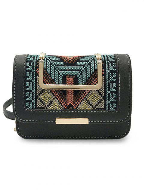 Metal Top Handle Embroidery Ethnic Crossbody Bag - BLACK