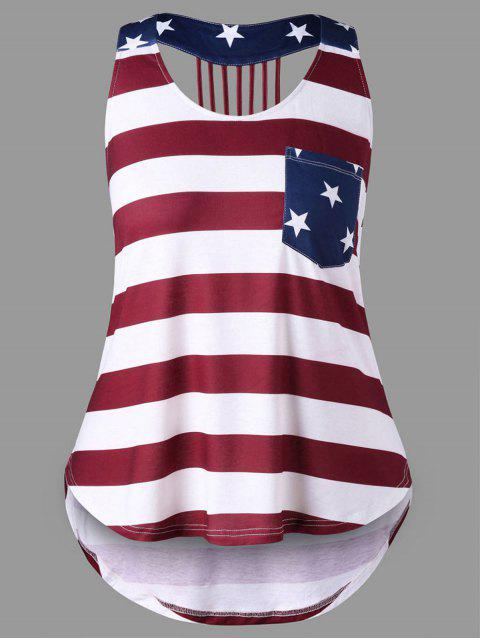 Plus Size American Flag Strappy Tank Top - COLORMIX 5XL