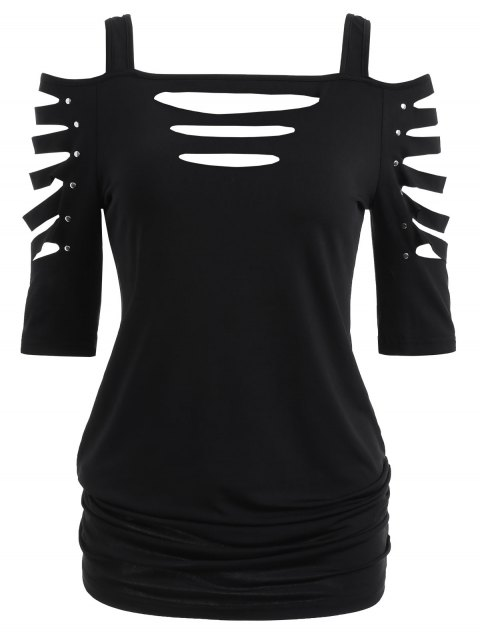 Shoulder Cut Lacerated Sleeve T-shirt - BLACK 2XL