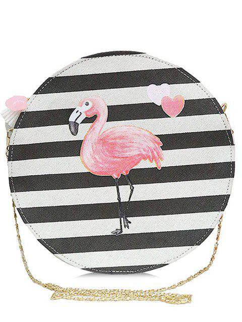 Tassel Striped Color Block Crossbody Bag - PINK