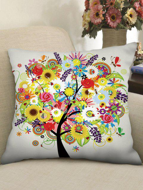 Flower Tree Print Linen Sofa Pillowcase - multicolor W18 INCH * L18 INCH