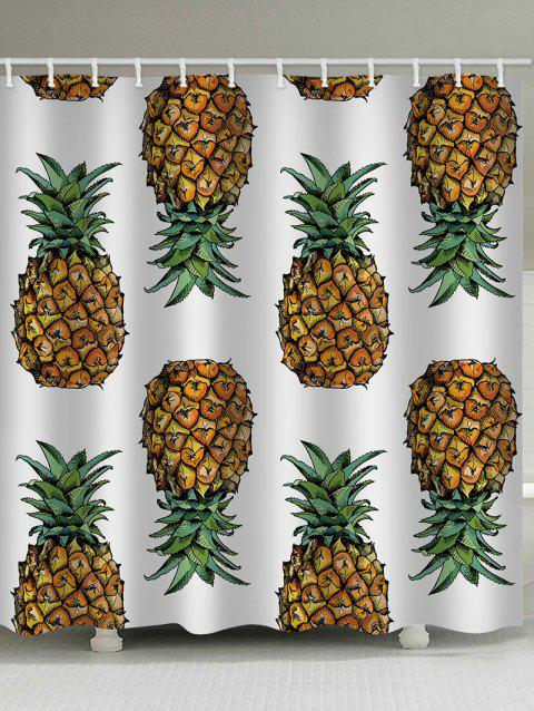 Pineapples Printed Bath Shower Curtain - multicolor W71 INCH * L79 INCH