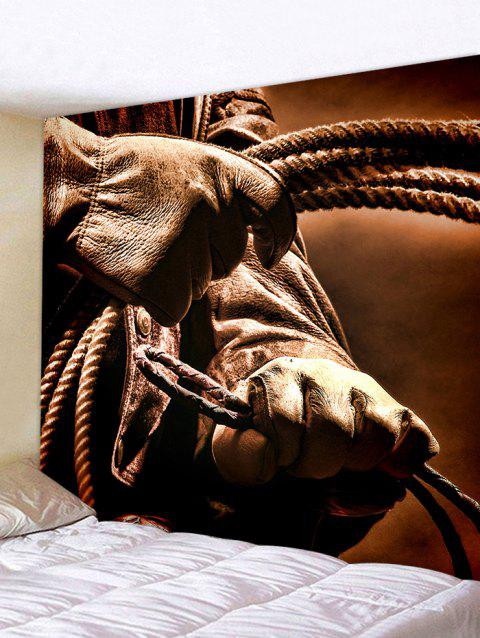 West Cowboy Hands with Lasso Lariat Printed Tapestry  Wall Decor - BROWN W79 INCH * L71 INCH