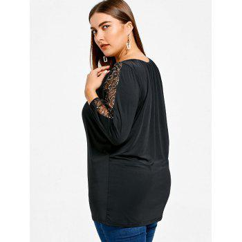 Mesh Yarn Sleeve Plus Size Fitted T-shirt - BLACK 2X