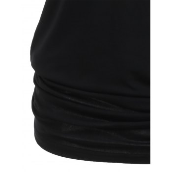 Shoulder Cut Lacerated Sleeve T-shirt - BLACK S