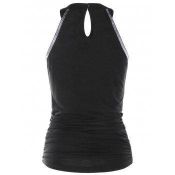 Keyhole Front Ruched Tank Top - BLACK XL