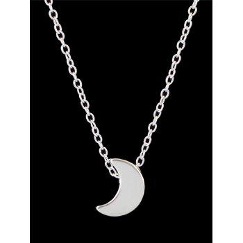 Metal Moon Chain Necklace - SILVER