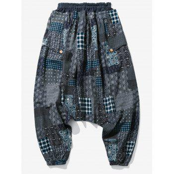 Plaid Panel Floral Print Jogger Pants - BLUE GRAY XS