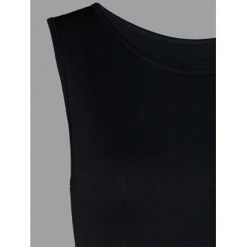 Two Tones Sleeveless Tunic T-shirt - BLACK M