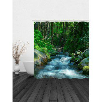 Stream In The Forest Print Waterproof Shower Curtain - SPRING GREEN W71 INCH * L79 INCH