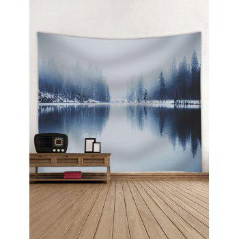 Winter Lake Landscape Pattern Wall Hanging Tapestry - GRAY GOOSE W91 INCH * L71 INCH