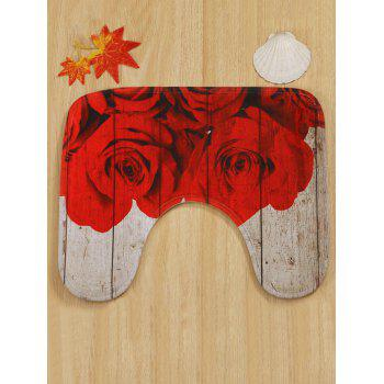 Red Rose Wood Grain Print Toilet Mat Set 3Pcs - multicolor