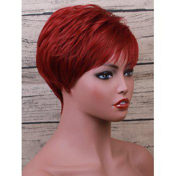 Short Inclined Bang Straight Party Human Hair Wig - RED WINE