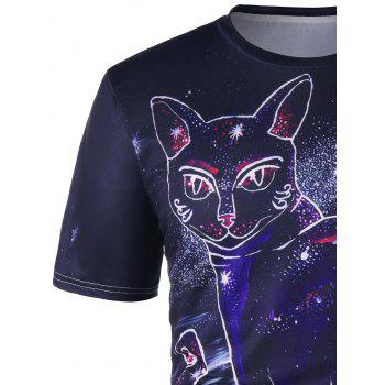 Cat Totem Print T-shirt - COLORMIX M