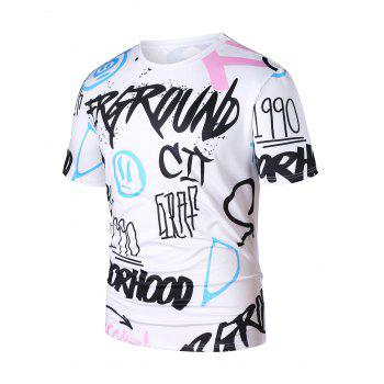 Individual Letters Short Sleeve T-shirt - WHITE L