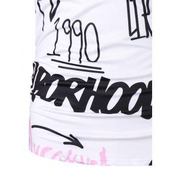 Individual Letters Short Sleeve T-shirt - WHITE 2XL