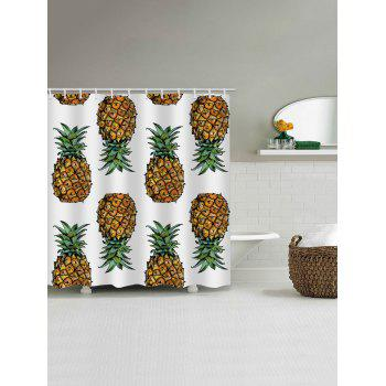 Pineapples Printed Bath Shower Curtain - multicolor G W65 INCH * L71 INCH