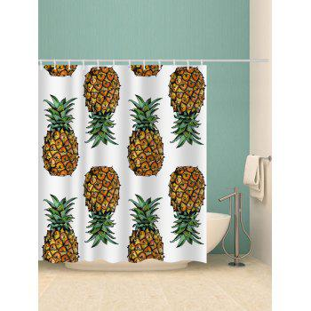 Pineapples Printed Bath Shower Curtain - multicolor G W71 INCH * L79 INCH