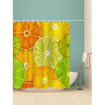 Colorful Lemon Slices Printed Bathroom Shower Curtain - multicolor G W71 INCH * L71 INCH