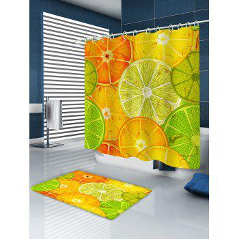 Colorful Lemon Slices Printed Bathroom Shower Curtain - multicolor G W71 INCH * L79 INCH