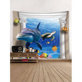 3D Ocean Dolphin Turtle Print Wall Tapestry - BLUE W91 INCH * L71 INCH