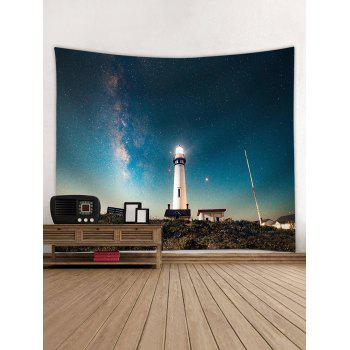 Light House Starry Night Pattern Wall Hanging Tapestry - GLACIAL BLUE ICE W79 INCH * L59 INCH
