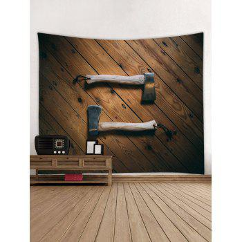 Wooden Handle Print Wall Hanging Tapestry - WOOD W91 INCH * L71 INCH