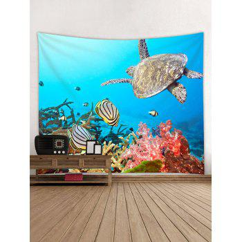 Sea Animal Turtle Print Wall Hanging Tapestry - BLUE W91 INCH * L71 INCH