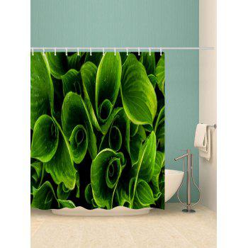 Leaves Print Waterproof Shower Curtain - JUNGLE GREEN W71 INCH * L71 INCH