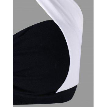Halter Two Tone Ruched Crop Top - WHITE/BLACK L