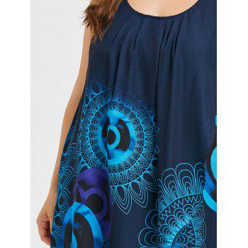 Plus Size Ethnic Print Tank Dress - BLUE 4X